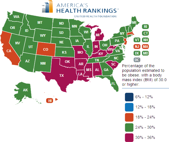 State map of obesity prevalence in 2012
