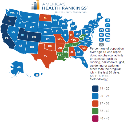 State map of sedentary lifestyle prevalence in 2012