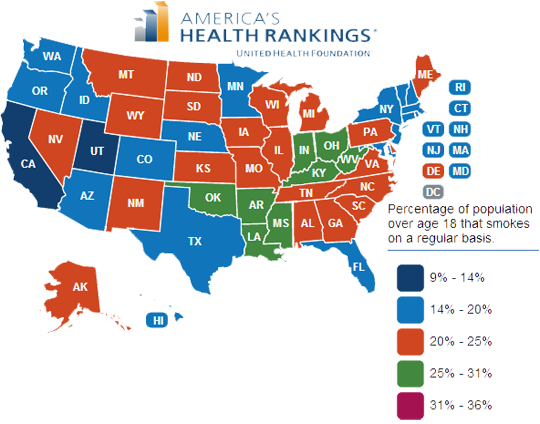Map of Smoking in America 2012