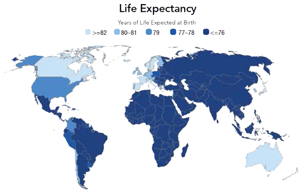 World map of life expectancy