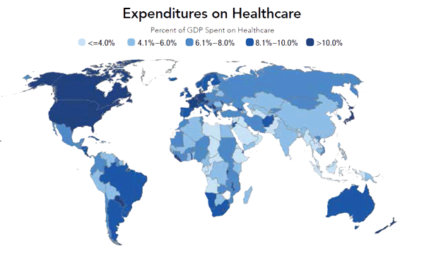 World map of healthcare expenditures