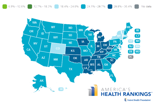 State map of obesity prevalence in 2013