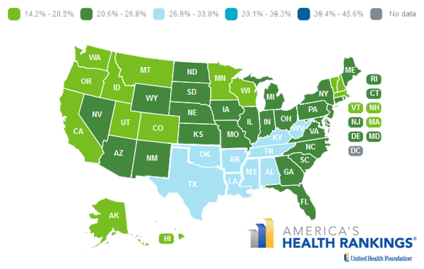 State map of sedentary lifestyle prevalence in 2013
