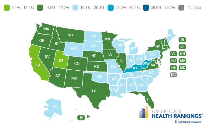 Map of the smoking rates in the states